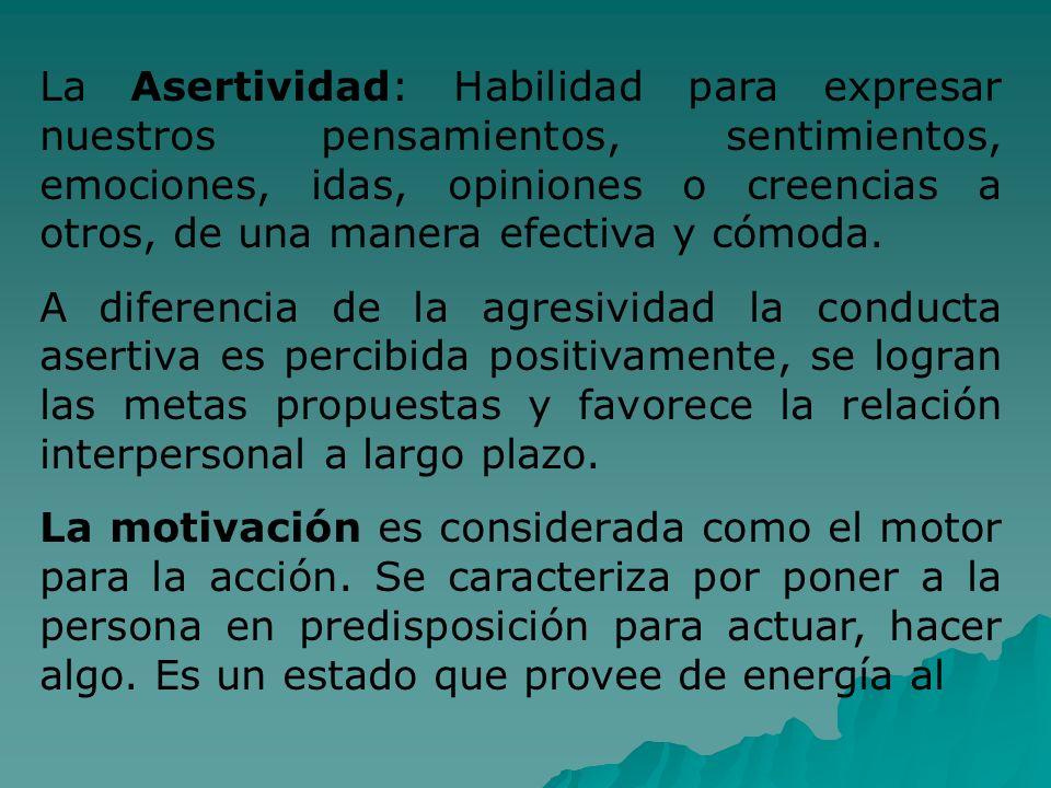 La Asertividad: Habilidad para expresar nuestros pensamientos, sentimientos, emociones, idas, opiniones o creencias a otros, de una manera efectiva y