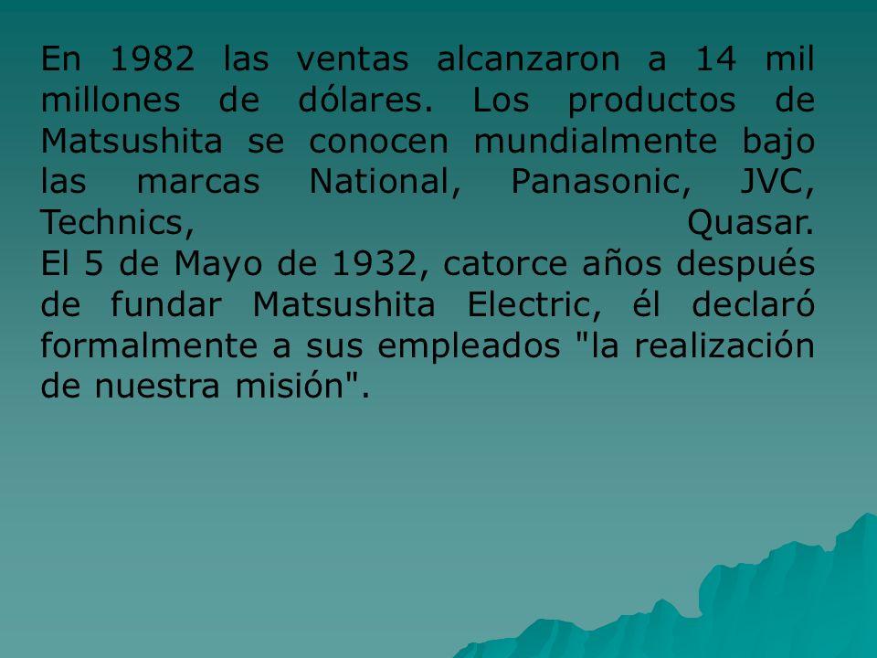En 1982 las ventas alcanzaron a 14 mil millones de dólares. Los productos de Matsushita se conocen mundialmente bajo las marcas National, Panasonic, J