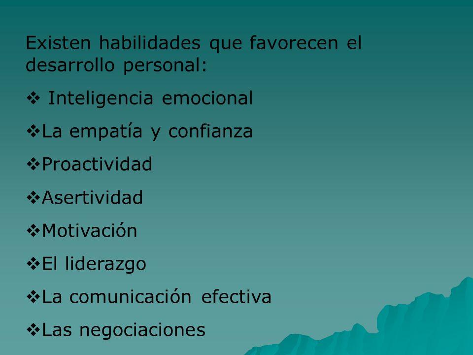 Existen habilidades que favorecen el desarrollo personal: Inteligencia emocional La empatía y confianza Proactividad Asertividad Motivación El lideraz