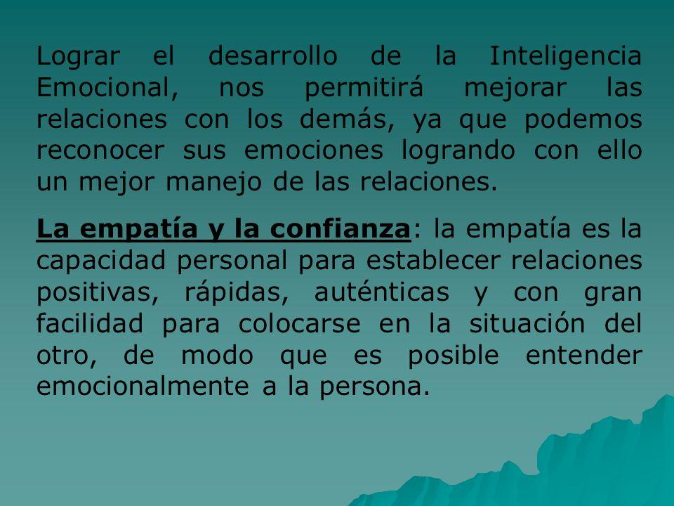 Lograr el desarrollo de la Inteligencia Emocional, nos permitirá mejorar las relaciones con los demás, ya que podemos reconocer sus emociones logrando