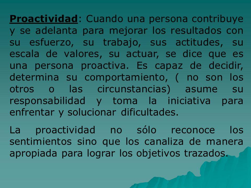 Proactividad: Cuando una persona contribuye y se adelanta para mejorar los resultados con su esfuerzo, su trabajo, sus actitudes, su escala de valores