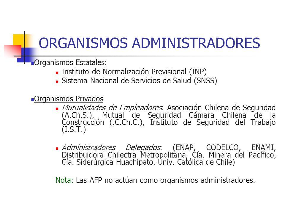 ORGANISMOS ADMINISTRADORES Organismos Estatales: Instituto de Normalización Previsional (INP) Sistema Nacional de Servicios de Salud (SNSS) Organismos