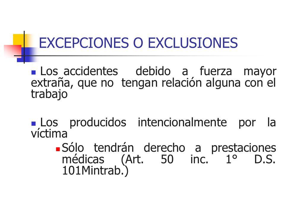 EXCEPCIONES O EXCLUSIONES Los accidentes debido a fuerza mayor extraña, que no tengan relación alguna con el trabajo Los producidos intencionalmente p
