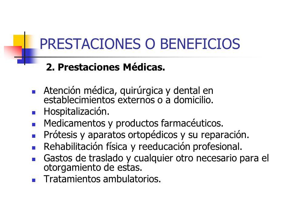 PRESTACIONES O BENEFICIOS 2. Prestaciones Médicas. Atención médica, quirúrgica y dental en establecimientos externos o a domicilio. Hospitalización. M