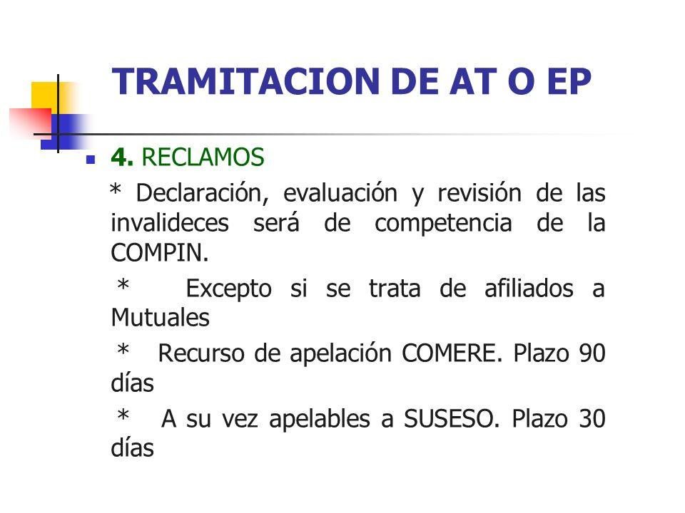 4. RECLAMOS * Declaración, evaluación y revisión de las invalideces será de competencia de la COMPIN. * Excepto si se trata de afiliados a Mutuales *