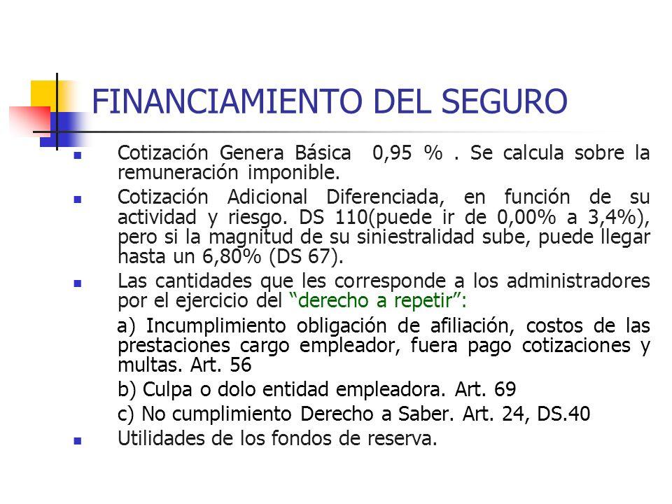 FINANCIAMIENTO DEL SEGURO Cotización Genera Básica 0,95 %. Se calcula sobre la remuneración imponible. Cotización Adicional Diferenciada, en función d