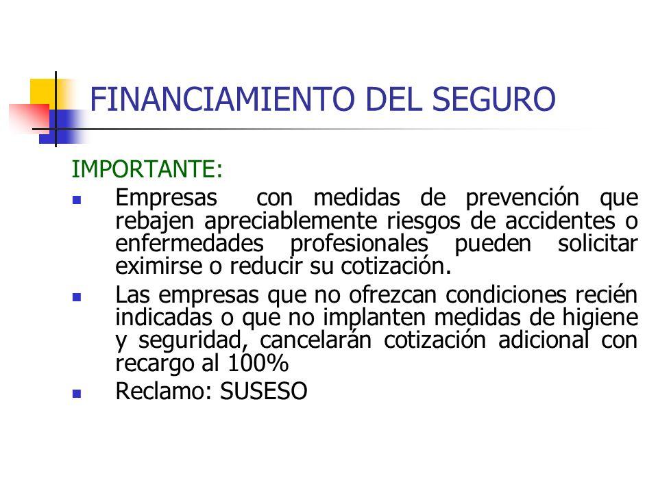 FINANCIAMIENTO DEL SEGURO IMPORTANTE: Empresas con medidas de prevención que rebajen apreciablemente riesgos de accidentes o enfermedades profesionale