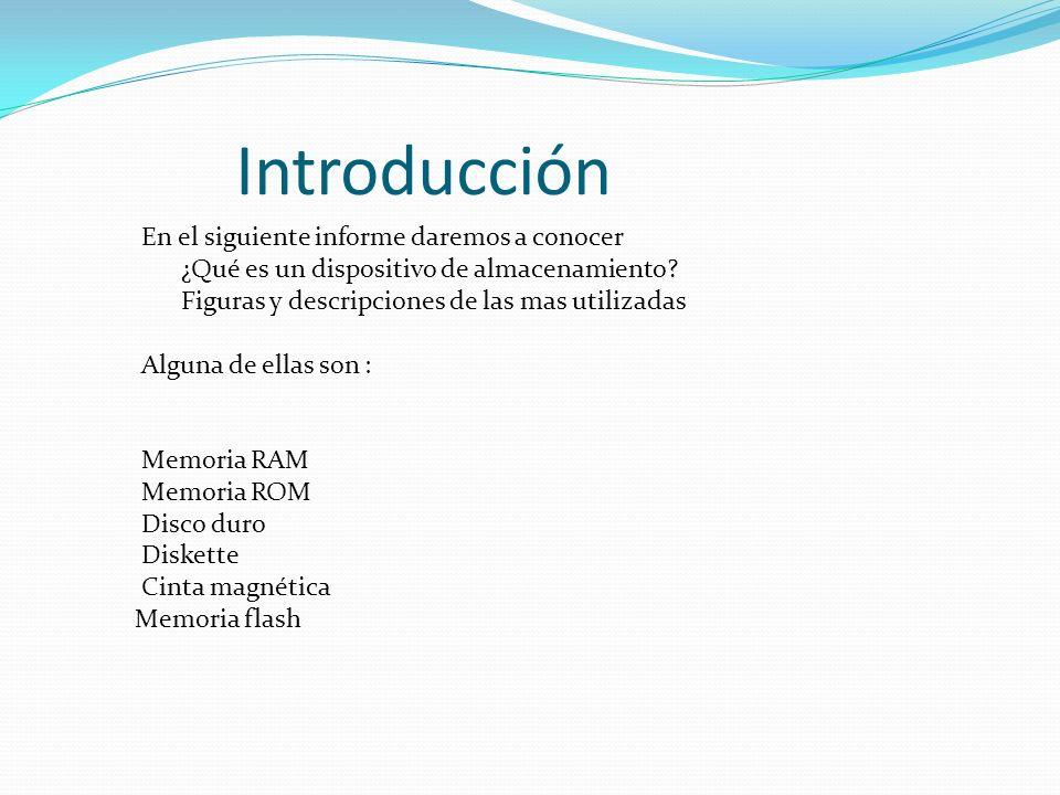 Introducción En el siguiente informe daremos a conocer ¿Qué es un dispositivo de almacenamiento? Figuras y descripciones de las mas utilizadas Alguna
