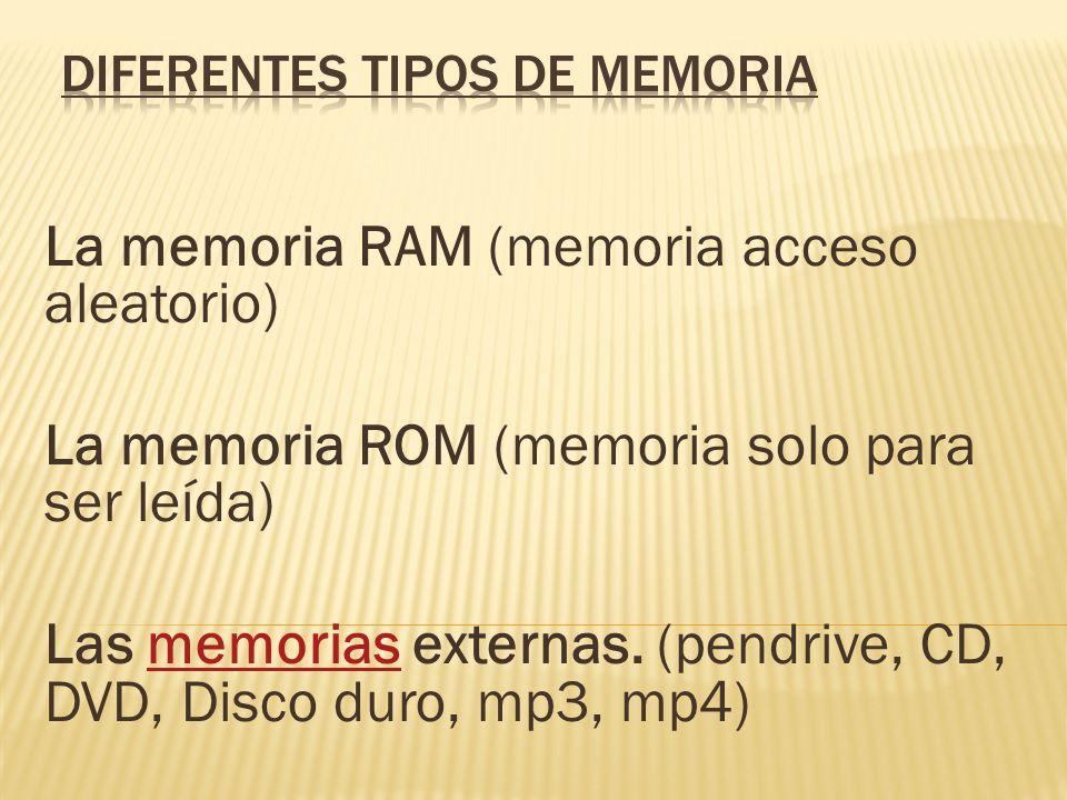 La memoria RAM (memoria acceso aleatorio) La memoria ROM (memoria solo para ser leída) Las memorias externas. (pendrive, CD, DVD, Disco duro, mp3, mp4