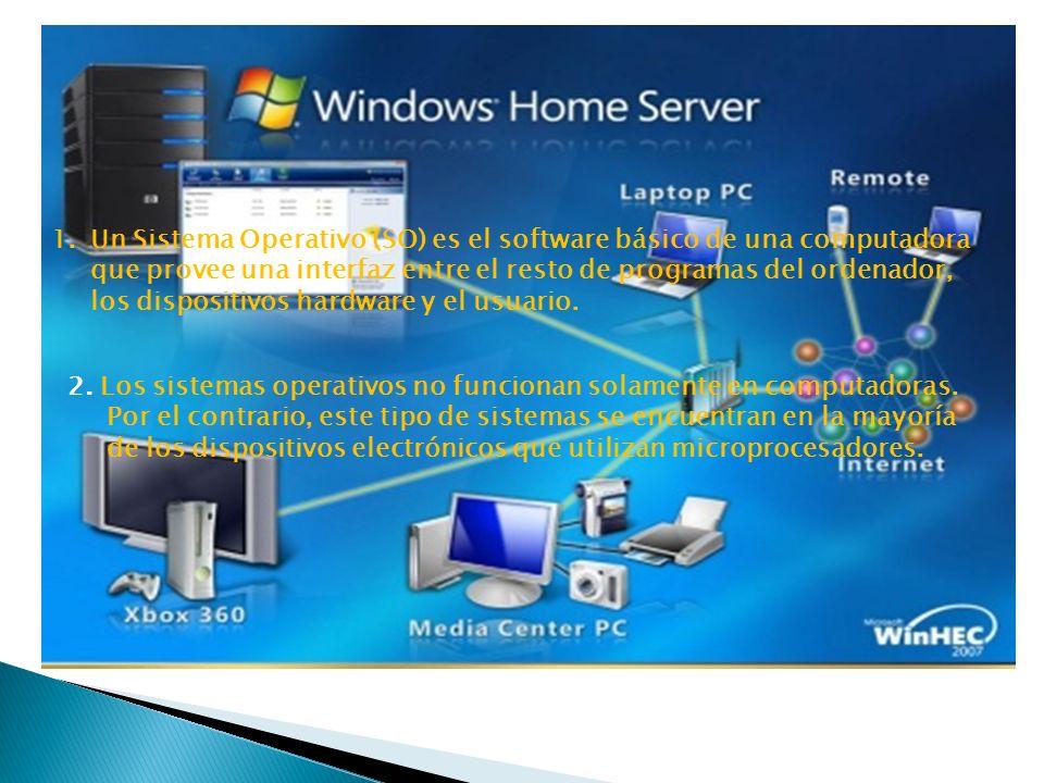 ¿ Que son los sistemas operativos? 1.Un Sistema Operativo (SO) es el software básico de una computadora que provee una interfaz entre el resto de prog