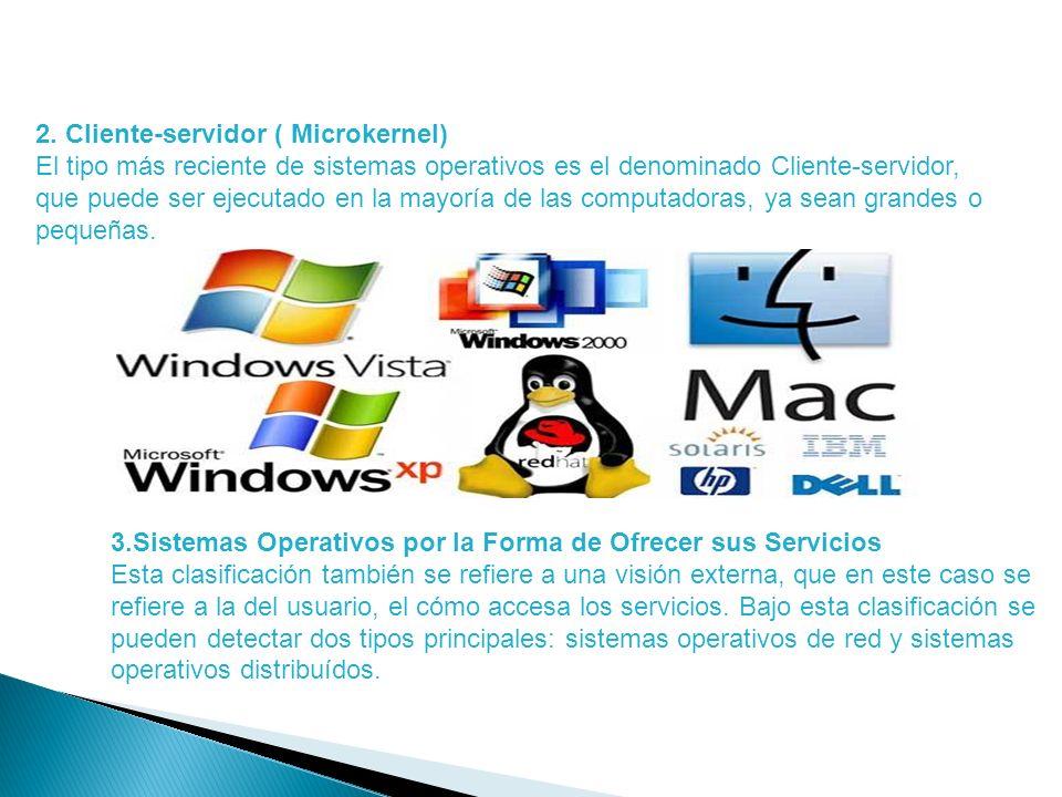 2. Cliente-servidor ( Microkernel) El tipo más reciente de sistemas operativos es el denominado Cliente-servidor, que puede ser ejecutado en la mayorí
