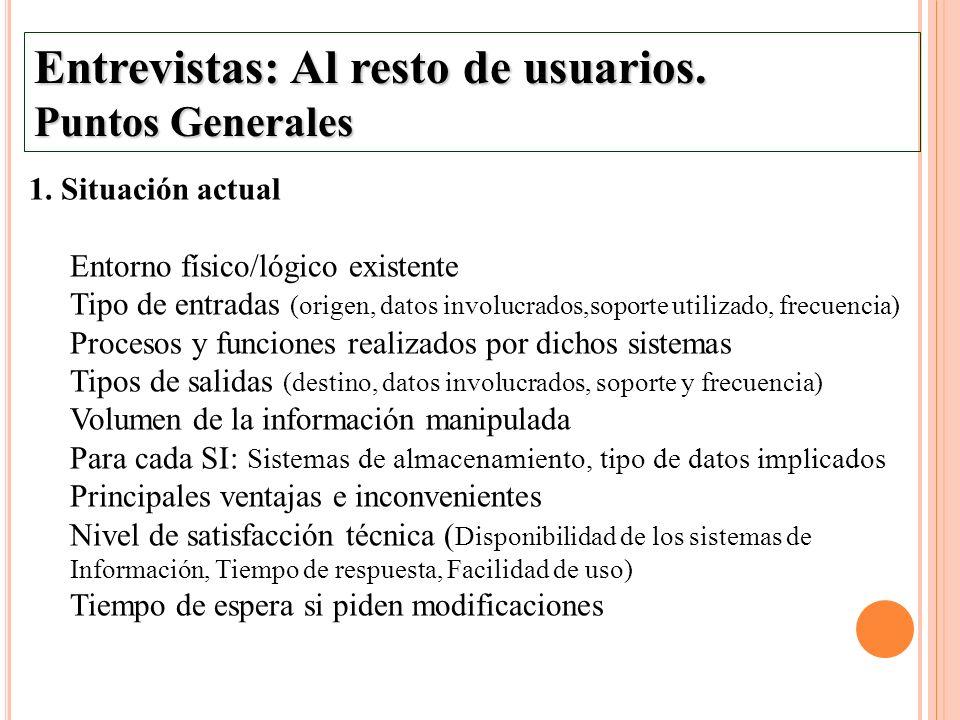 Entrevistas: Al resto de usuarios. Puntos Generales 1. Situación actual Entorno físico/lógico existente Tipo de entradas (origen, datos involucrados,s