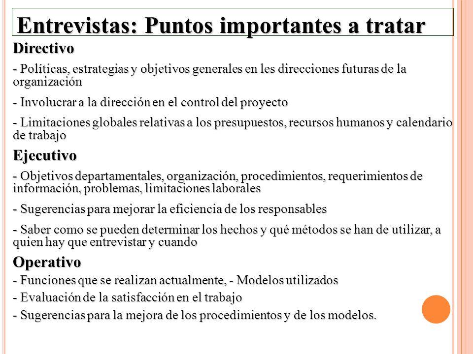 Entrevistas: Puntos importantes a tratar Directivo - Políticas, estrategias y objetivos generales en les direcciones futuras de la organización - Invo