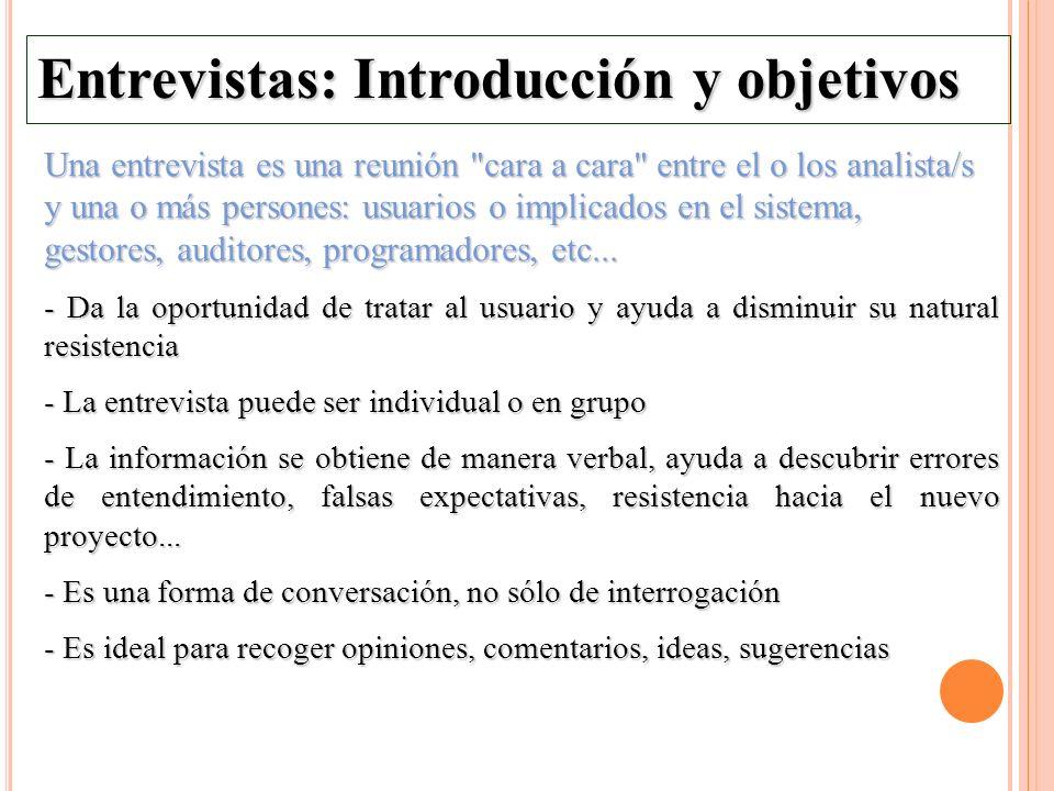 Entrevistas: Introducción y objetivos Una entrevista es una reunión