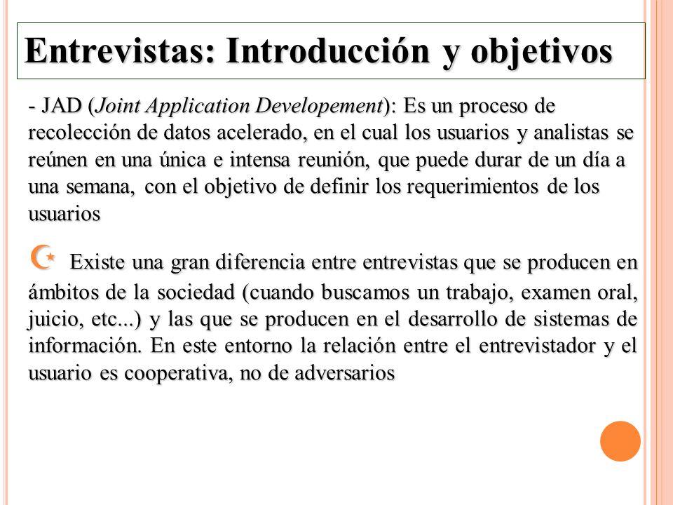 Entrevistas: Introducción y objetivos - JAD (Joint Application Developement): Es un proceso de recolección de datos acelerado, en el cual los usuarios