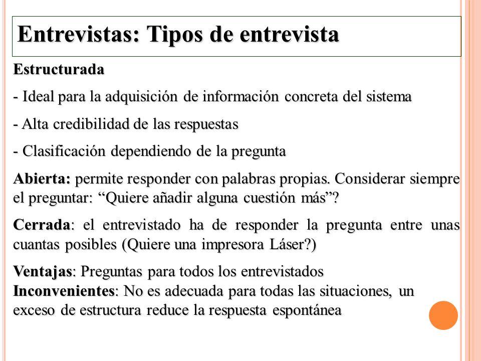Entrevistas: Tipos de entrevista Estructurada - Ideal para la adquisición de información concreta del sistema - Alta credibilidad de las respuestas -