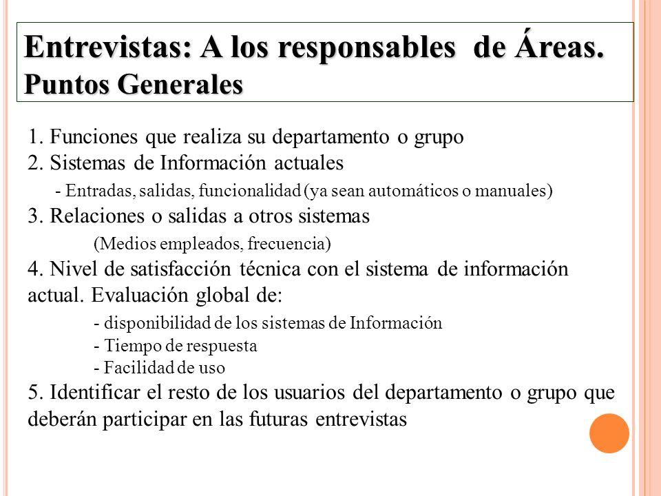 Entrevistas: A los responsables de Áreas. Puntos Generales 1. Funciones que realiza su departamento o grupo 2. Sistemas de Información actuales - Entr