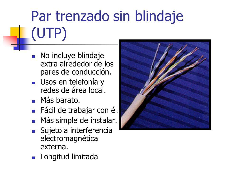 Par trenzado sin blindaje (UTP) No incluye blindaje extra alrededor de los pares de conducción. Usos en telefonía y redes de área local. Más barato. F