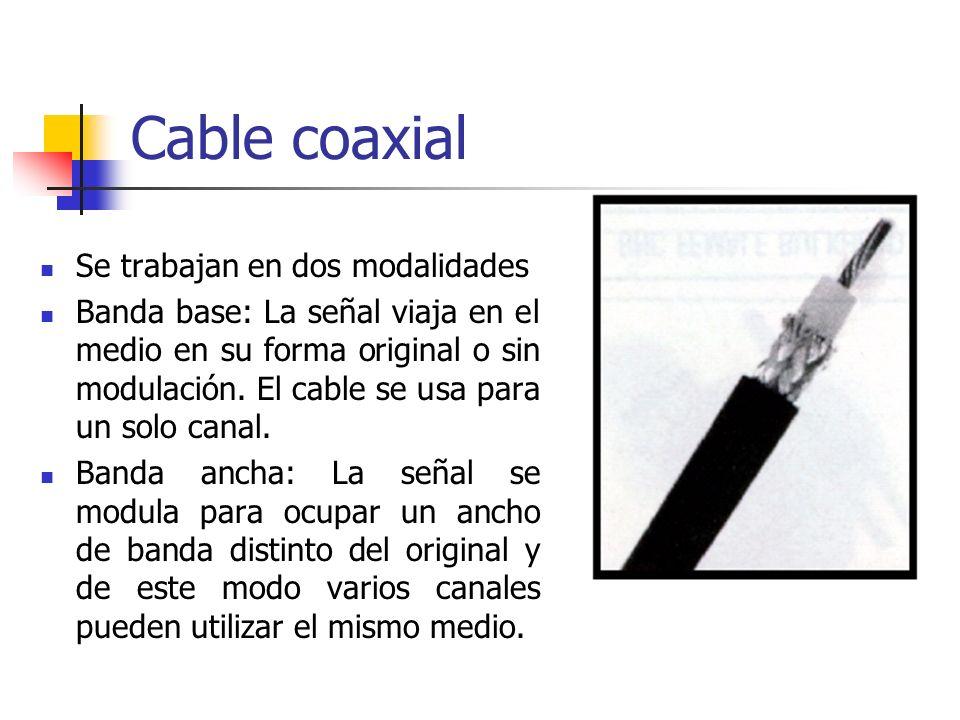Cable coaxial Se trabajan en dos modalidades Banda base: La señal viaja en el medio en su forma original o sin modulación. El cable se usa para un sol