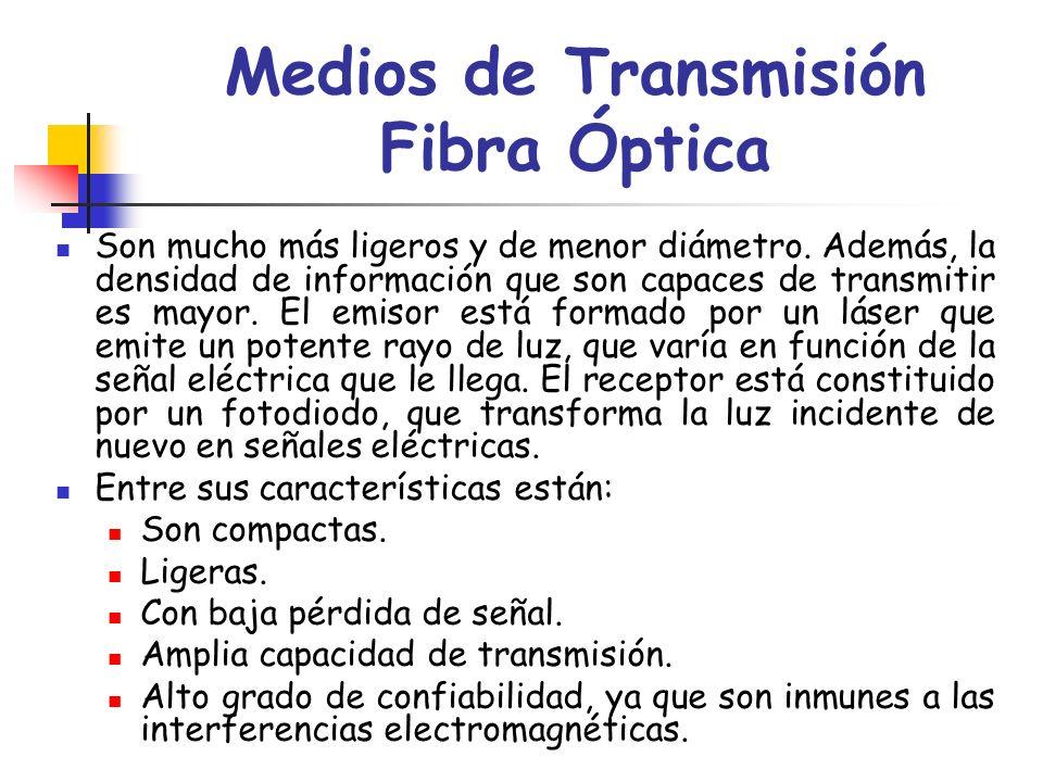 Medios de Transmisión Fibra Óptica Son mucho más ligeros y de menor diámetro. Además, la densidad de información que son capaces de transmitir es mayo