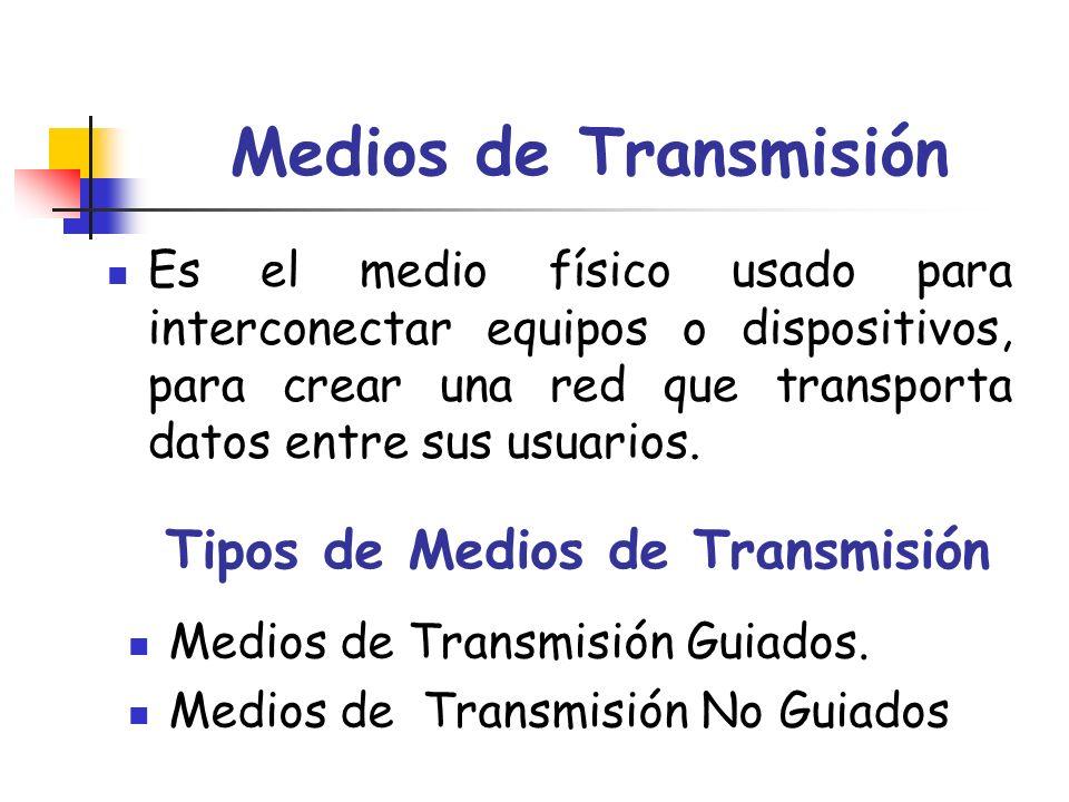 Medios de Transmisión Es el medio físico usado para interconectar equipos o dispositivos, para crear una red que transporta datos entre sus usuarios.