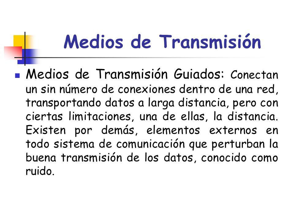 Medios de Transmisión Medios de Transmisión Guiados: Conectan un sin número de conexiones dentro de una red, transportando datos a larga distancia, pe