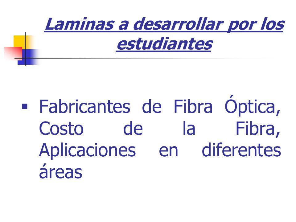 Fabricantes de Fibra Óptica, Costo de la Fibra, Aplicaciones en diferentes áreas Laminas a desarrollar por los estudiantes