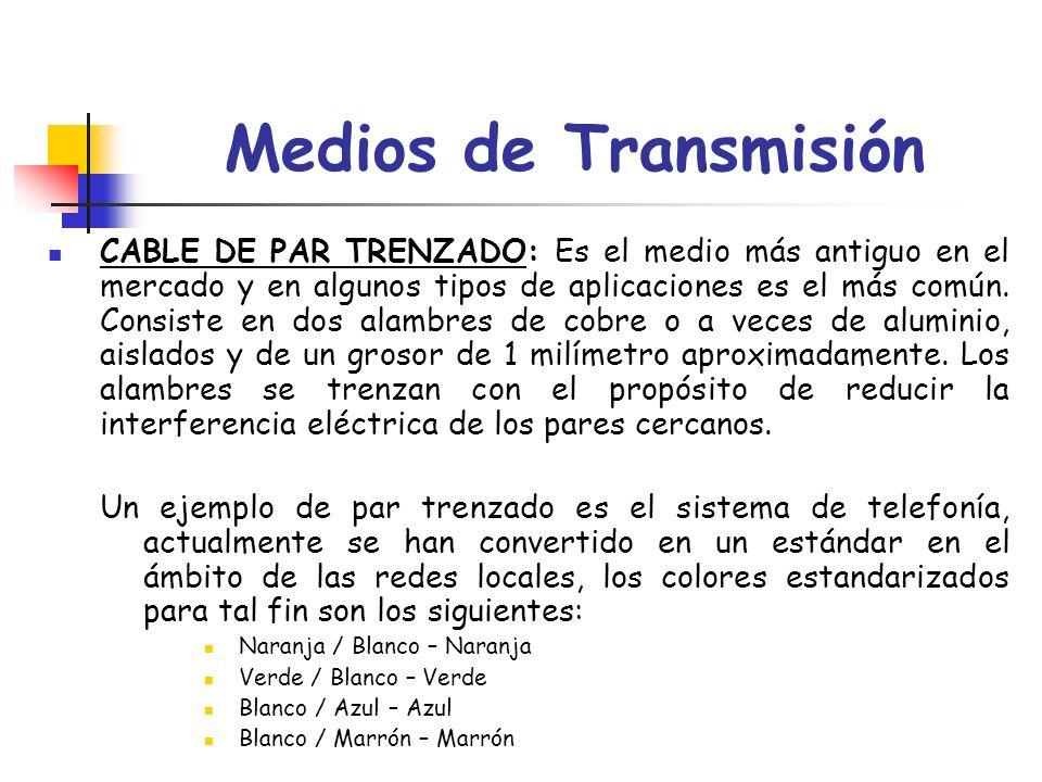 Medios de Transmisión CABLE DE PAR TRENZADO: Es el medio más antiguo en el mercado y en algunos tipos de aplicaciones es el más común. Consiste en dos