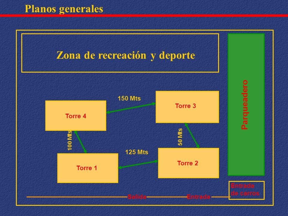 Planos generales Torre 3 Torre 2 100 Mts Parqueadero Entrada de carros Salida 150 Mts Zona de recreación y deporte 125 Mts Torre 1 Torre 4 50 Mts