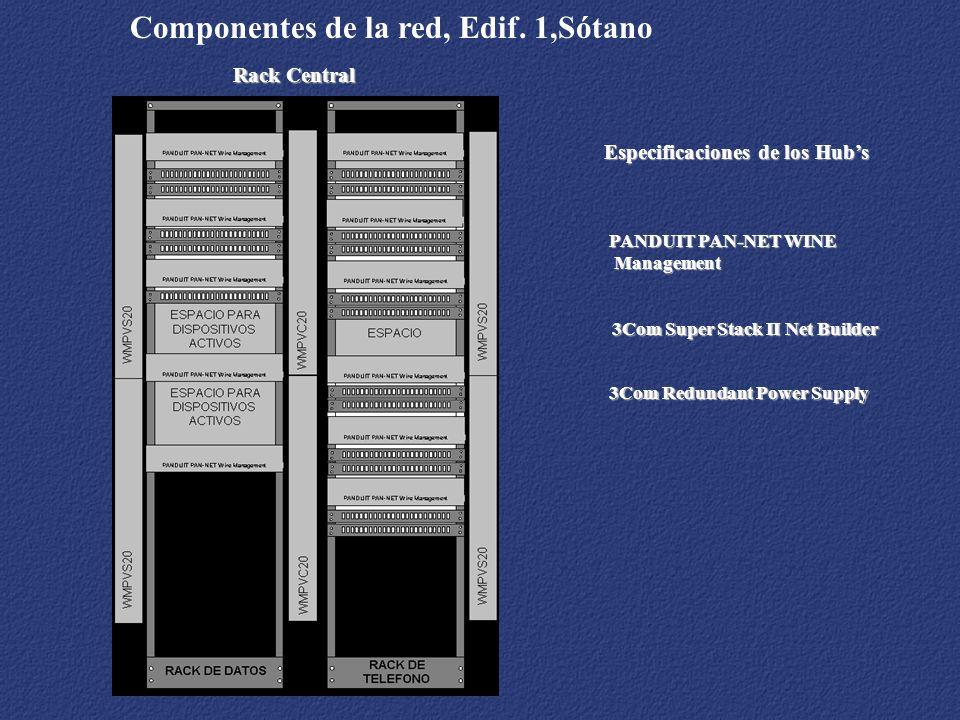 Rack Central Componentes de la red, Edif. 1,Sótano 3Com Redundant Power Supply 3Com Super Stack II Net Builder PANDUIT PAN-NET WINE Management Managem