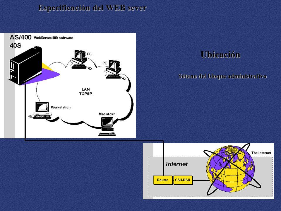 Especificación del WEB sever Ubicación Sótano del bloque administrativo