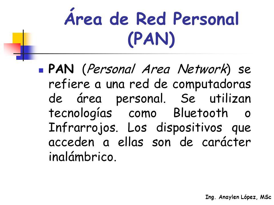 Ing. Anaylen López, MSc Área de Red Personal (PAN) PAN (Personal Area Network) se refiere a una red de computadoras de área personal. Se utilizan tecn