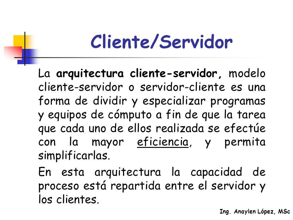 Ing. Anaylen López, MSc Cliente/Servidor La arquitectura cliente-servidor, modelo cliente-servidor o servidor-cliente es una forma de dividir y especi