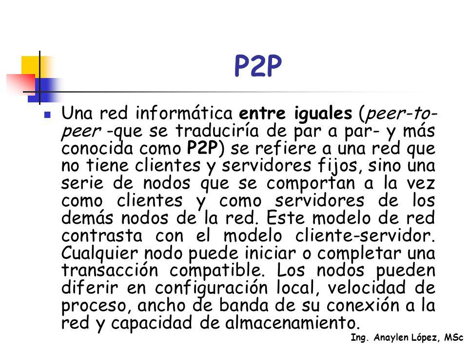Ing. Anaylen López, MSc P2P Una red informática entre iguales (peer-to- peer -que se traduciría de par a par- y más conocida como P2P) se refiere a un