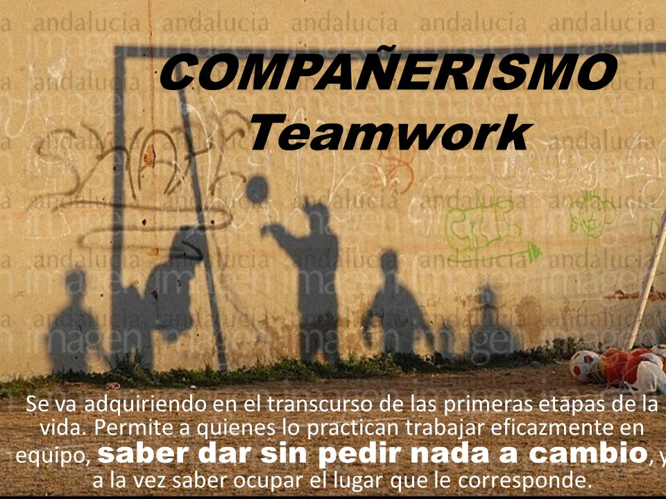 COMPAÑERISMO Teamwork Se va adquiriendo en el transcurso de las primeras etapas de la vida. Permite a quienes lo practican trabajar eficazmente en equ