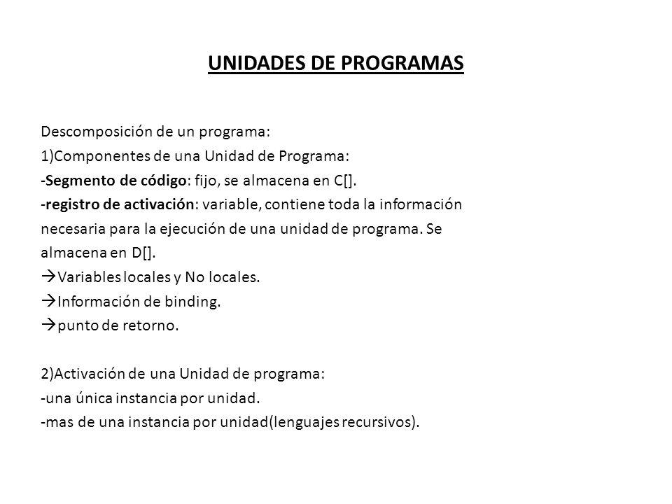 UNIDADES DE PROGRAMAS Descomposición de un programa: 1)Componentes de una Unidad de Programa: -Segmento de código: fijo, se almacena en C[]. -registro