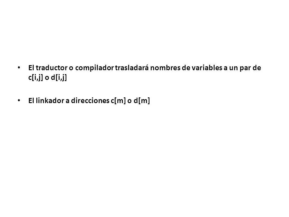 El traductor o compilador trasladará nombres de variables a un par de c[i,j] o d[i,j] El linkador a direcciones c[m] o d[m]