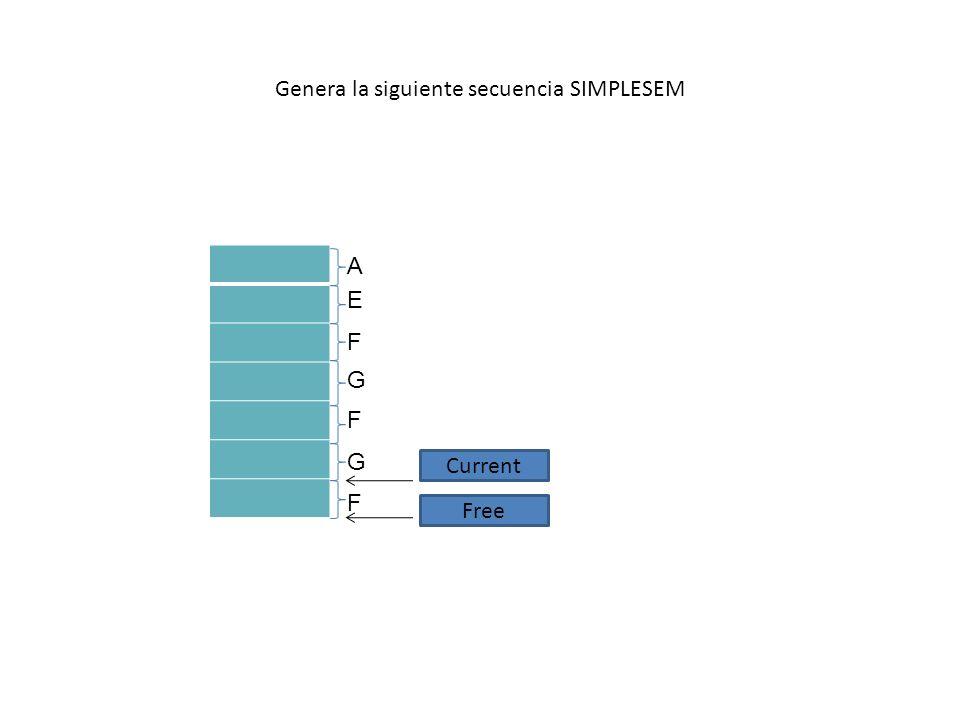 Genera la siguiente secuencia SIMPLESEM A E F F F G G Current Free