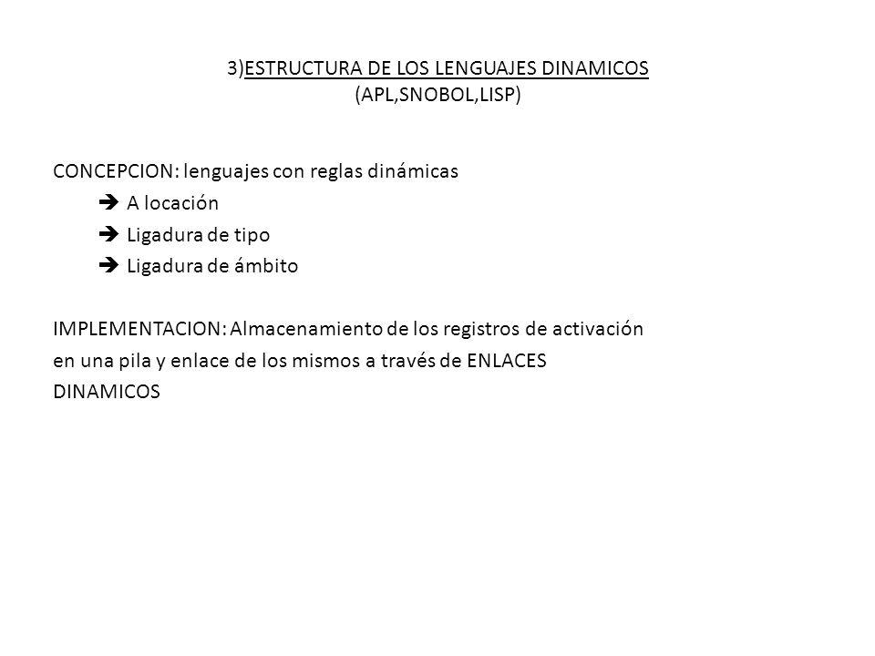 3)ESTRUCTURA DE LOS LENGUAJES DINAMICOS (APL,SNOBOL,LISP) CONCEPCION: lenguajes con reglas dinámicas A locación Ligadura de tipo Ligadura de ámbito IM