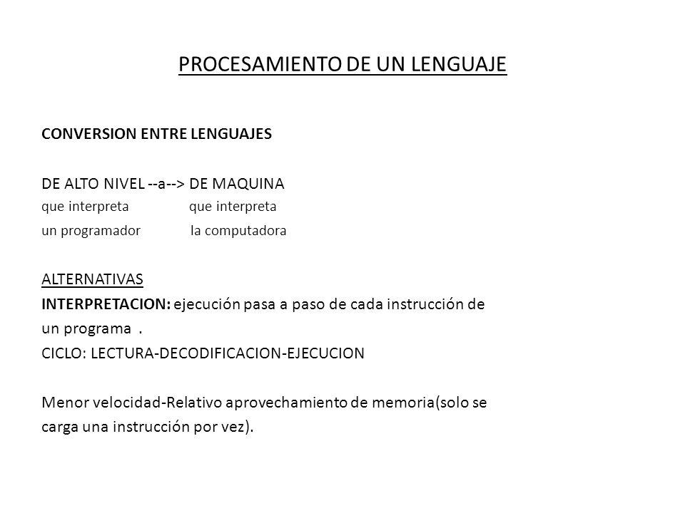 PROCESAMIENTO DE UN LENGUAJE CONVERSION ENTRE LENGUAJES DE ALTO NIVEL --a--> DE MAQUINA que interpreta un programador la computadora ALTERNATIVAS INTE