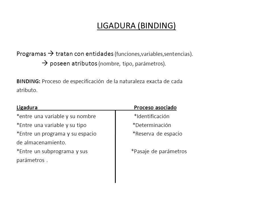 LIGADURA (BINDING) Programas tratan con entidades (funciones,variables,sentencias). poseen atributos (nombre, tipo, parámetros). BINDING: Proceso de e