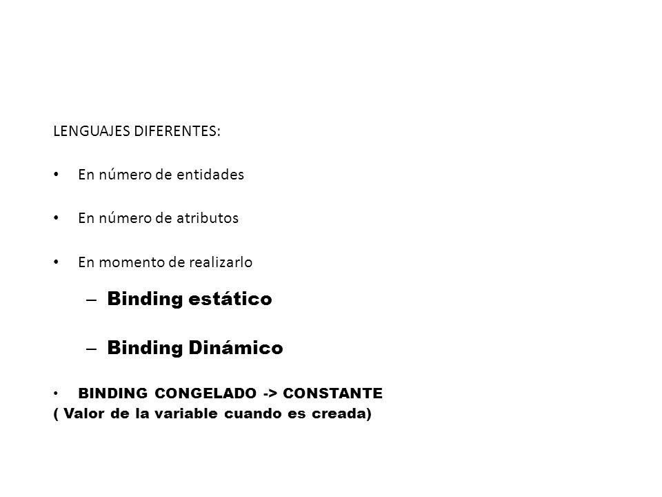 LENGUAJES DIFERENTES: En número de entidades En número de atributos En momento de realizarlo – Binding estático – Binding Dinámico BINDING CONGELADO -