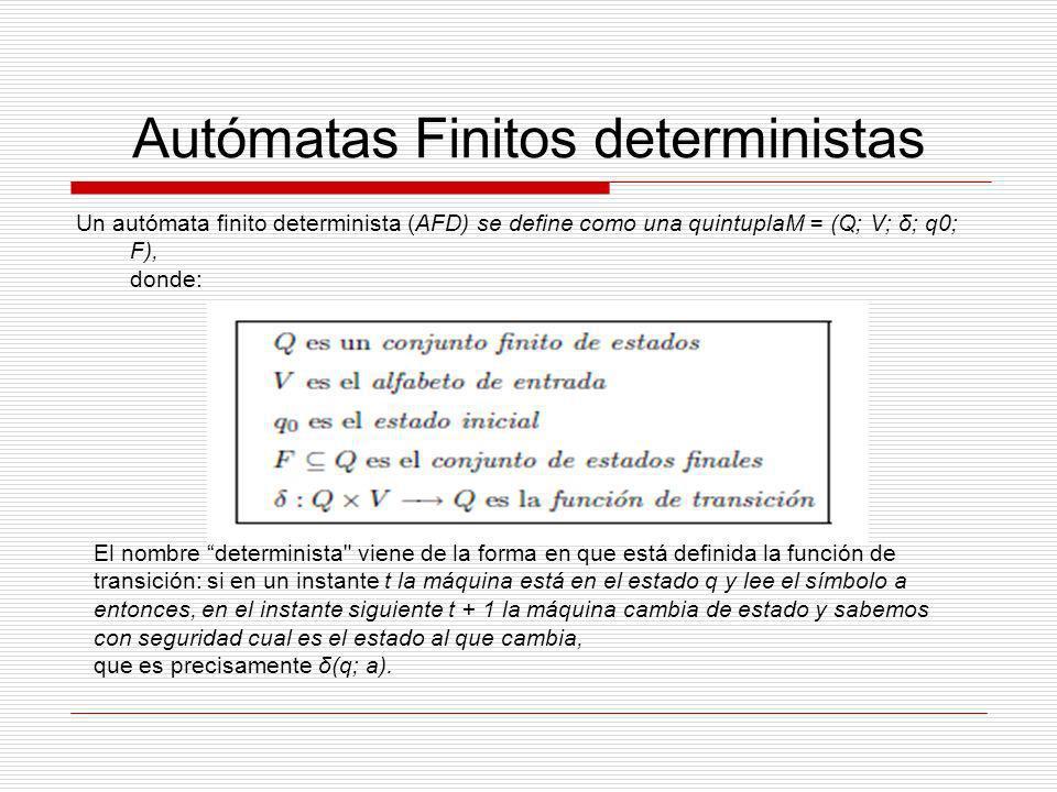 Autómatas Finitos deterministas La función de transición de un AFD se puede representar de dos formas: mediante una tabla de transición o mediante un diagrama de transición.