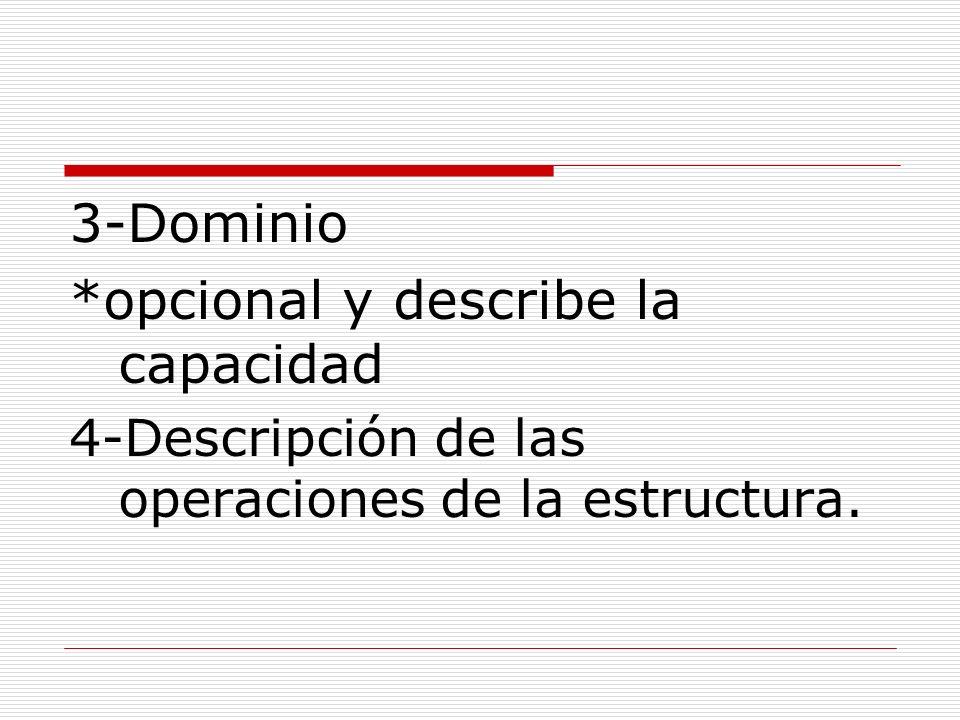 3-Dominio *opcional y describe la capacidad 4-Descripción de las operaciones de la estructura.