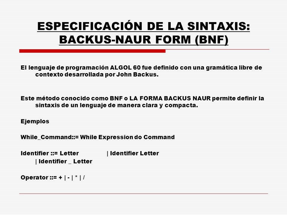 ESPECIFICACIÓN DE LA SINTAXIS: BACKUS-NAUR FORM (BNF) El lenguaje de programación ALGOL 60 fue definido con una gramática libre de contexto desarrolla