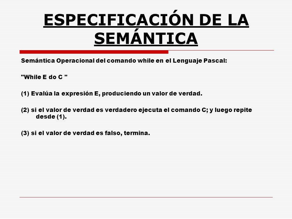 ESPECIFICACIÓN DE LA SEMÁNTICA Semántica Operacional del comando while en el Lenguaje Pascal: