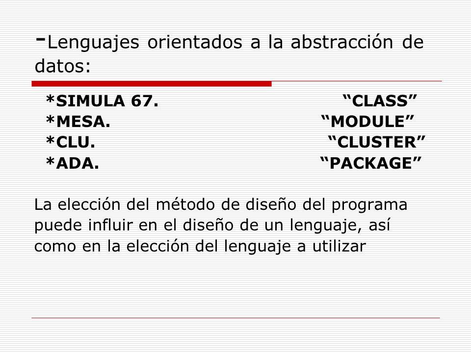 - Lenguajes orientados a la abstracción de datos: *SIMULA 67. CLASS *MESA. MODULE *CLU. CLUSTER *ADA. PACKAGE La elección del método de diseño del pro