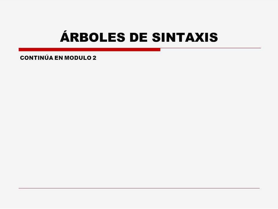ÁRBOLES DE SINTAXIS CONTINÚA EN MODULO 2