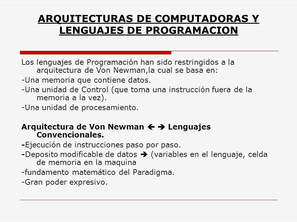 ARQUITECTURAS DE COMPUTADORAS Y LENGUAJES DE PROGRAMACION Los lenguajes de Programación han sido restringidos a la arquitectura de Von Newman,la cual