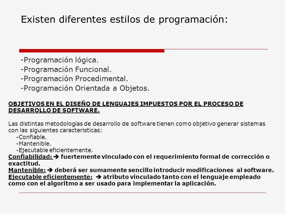Existen diferentes estilos de programación: -Programación lógica. -Programación Funcional. -Programación Procedimental. -Programación Orientada a Obje